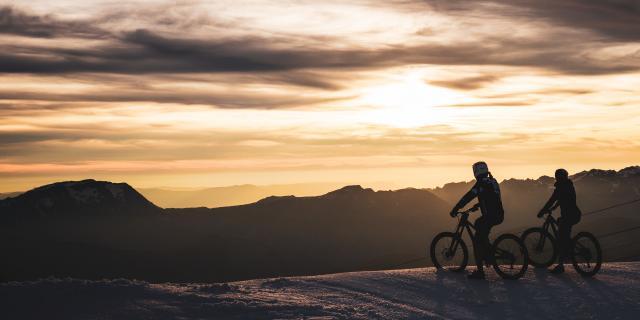 panorama glacier vtt couche de soleil été 2alpes